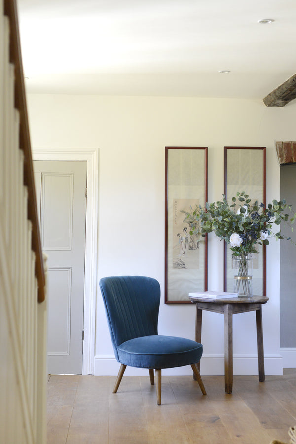The Cotswold Grey Pearson chair in Petrol velvet.