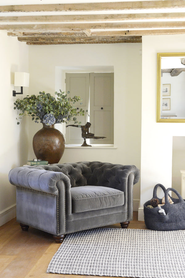 Cotswold Grey concrete grey chesterfield style Mayfair armchair.