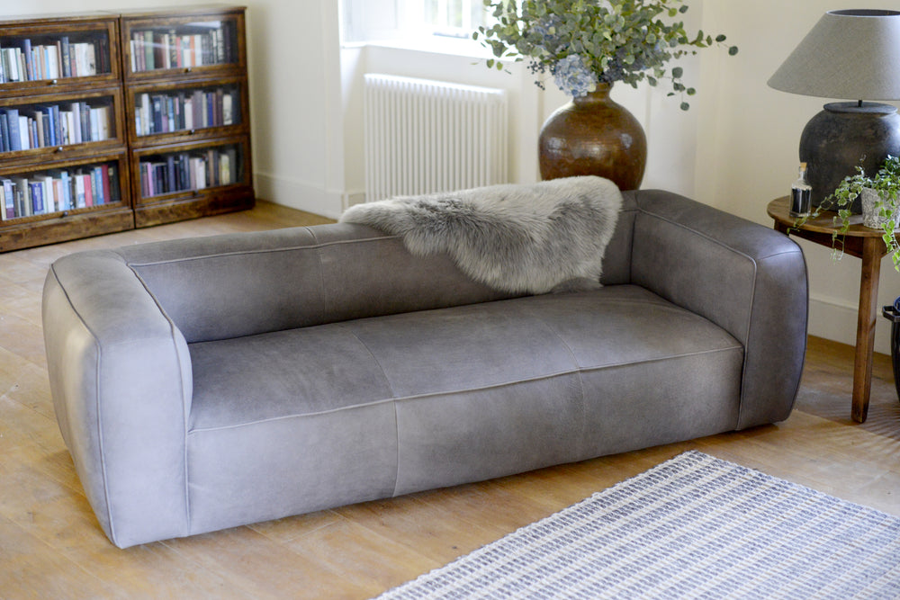 Load image into Gallery viewer, The Cotswold Grey James three seater leather sofa