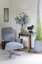 Blue 'denim' style fabric of the Perry chair by Cotswold Grey.