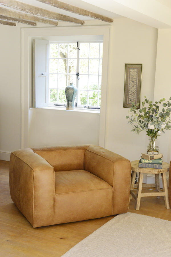 The James brown ta leather chair in a homely setting.