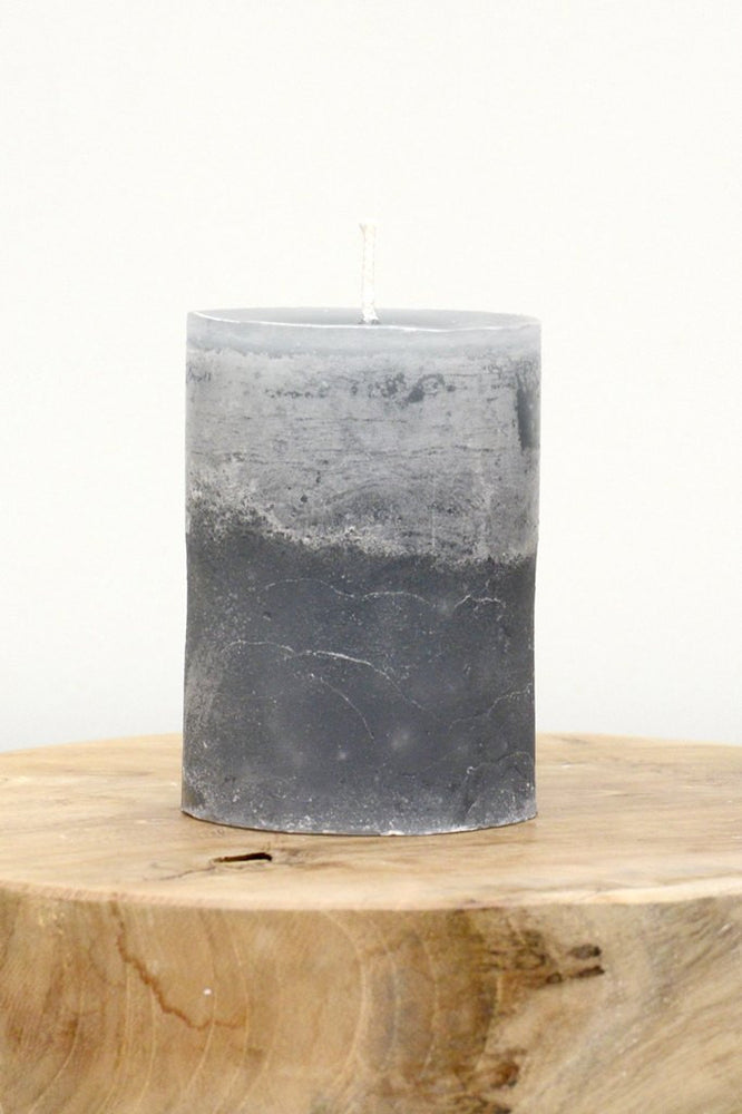 Hand Poured Pillar Candle - Grey
