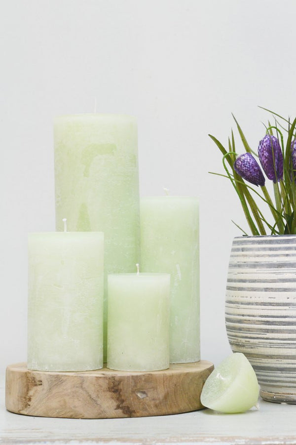 Hand Poured Pillar Candle - Light Green