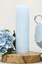 Hand Poured Pillar Candle - Light Blue