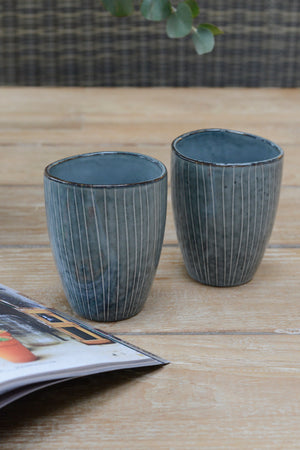 Load image into Gallery viewer, Two blue nordic sea mugs without handles