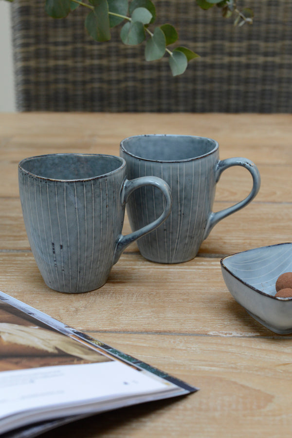 Two Blue nordic sea handled mugs stood next to eachother