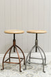 Natural Iron Malmo stool shot next to its copper counterpart