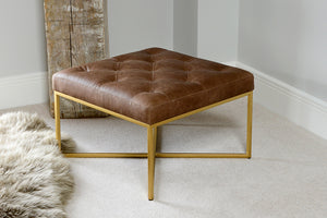 Load image into Gallery viewer, Europa Square Ottoman - Charme Mocha