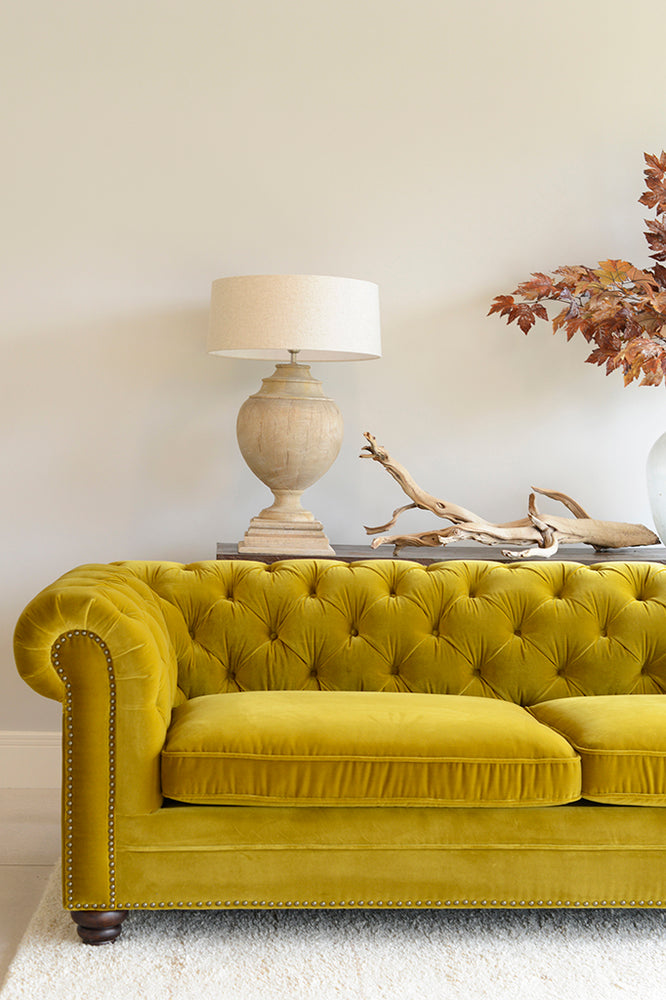 Elara 3 Seater Sofa - Velvet Gold