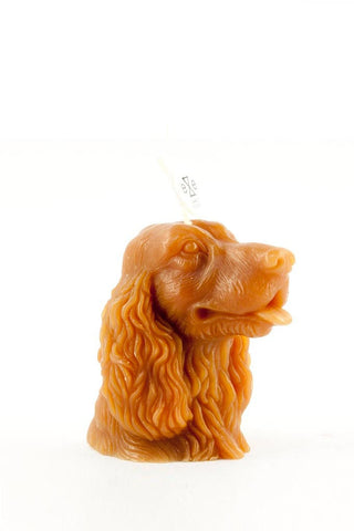 Orange / brown cocker candle with tongue out
