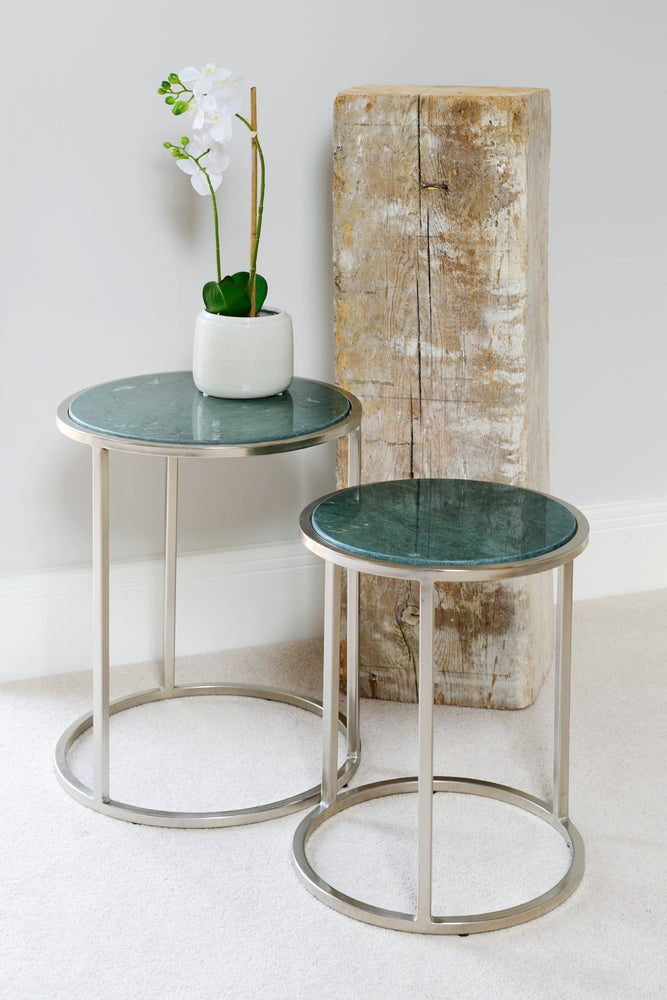 Nesting Tables Green/Nickel - Set of 2