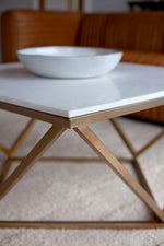 "Geometric 30"" Coffee Table - White Marble Top and Gold Finish Base"