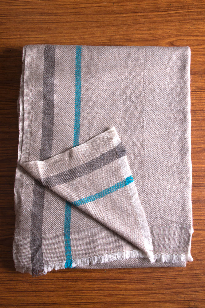 Cashmere Throw - Brown, Charcoal and Turquoise Stripe