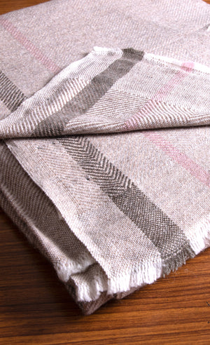 Cashmere Throw - Brown, Chocolate and Pink Stripe