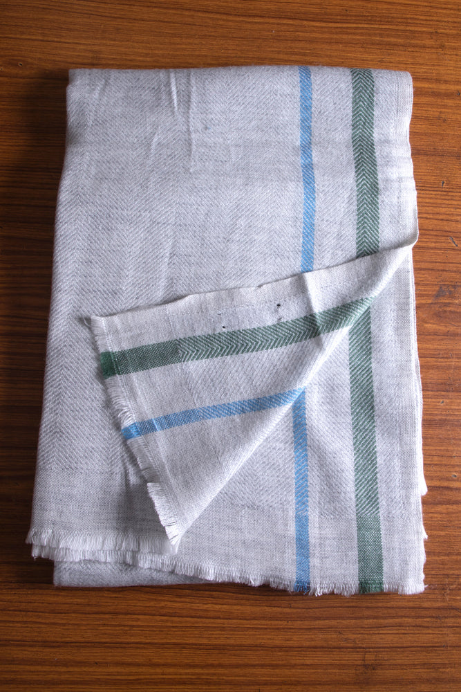 Cashmere Throw - Grey, Green and Sky Blue Stripe