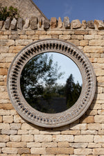 Jali Grey Round Carved Mirror - 120cm