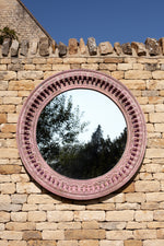 Jali Pink Round Carved Mirror - 120cm