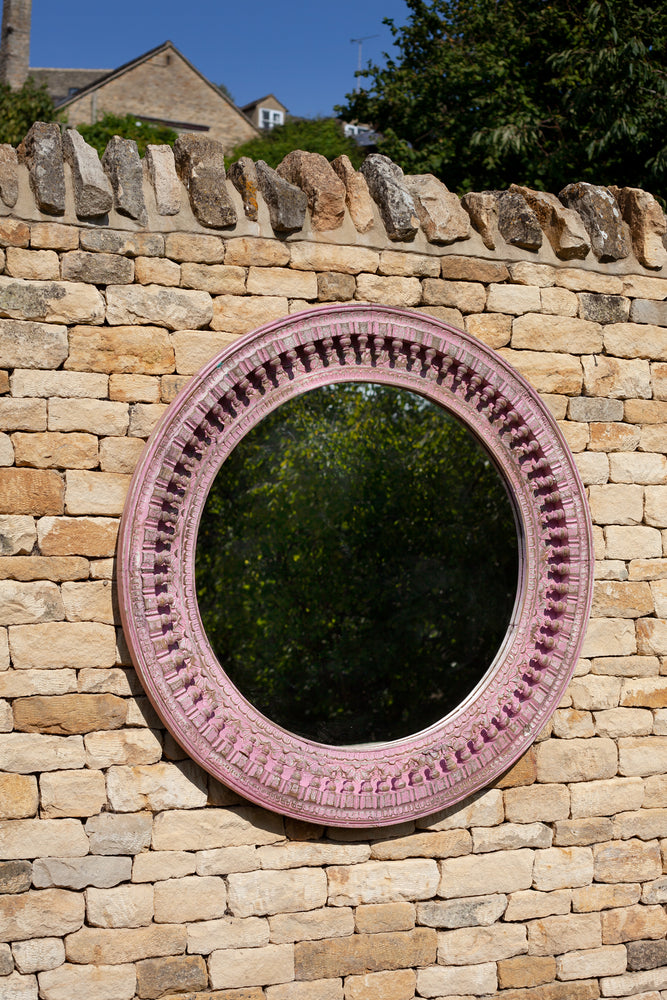 Load image into Gallery viewer, Jali Pink Round Carved Mirror - 120cm