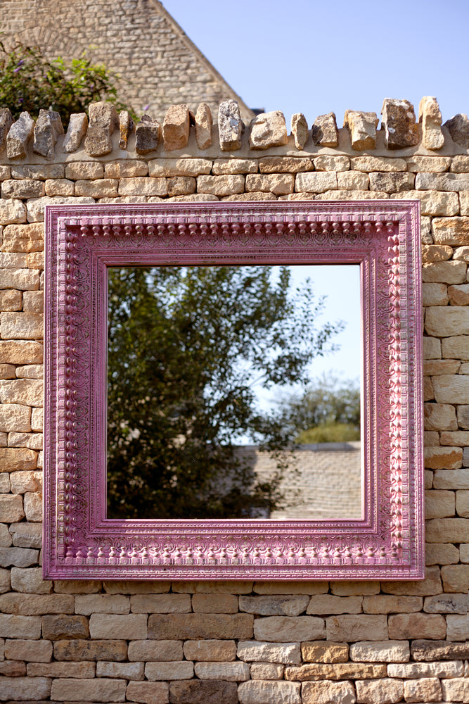 Jali Pink Square Carved Mirror - 130cm