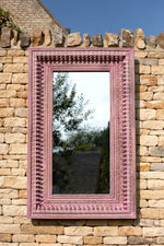 Jali Pink Rectangular Carved Mirror - 90cm x 153cm