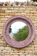 Jali Pink Round Carved Mirror - 90cm