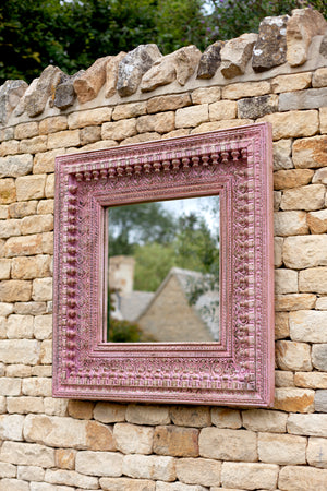 Jali Pink Square Carved Mirror - 92cm x 94cm
