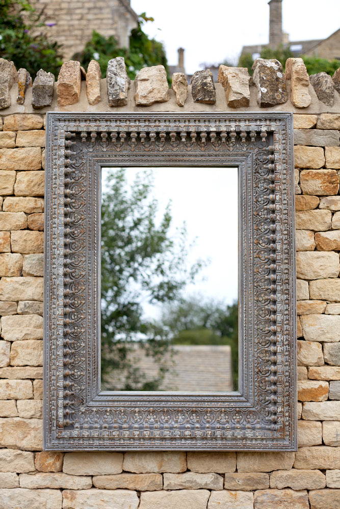 Jali Grey Rectangular Carved Mirror - 98cm x 127cm