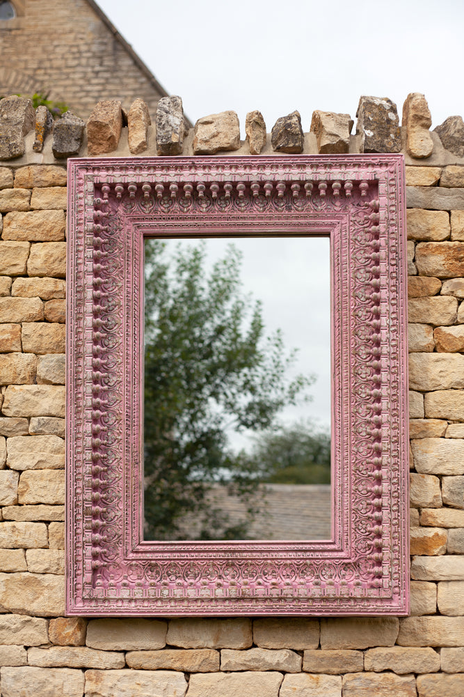 Jali Pink Rectangular Carved Mirror - 98cm x 127cm