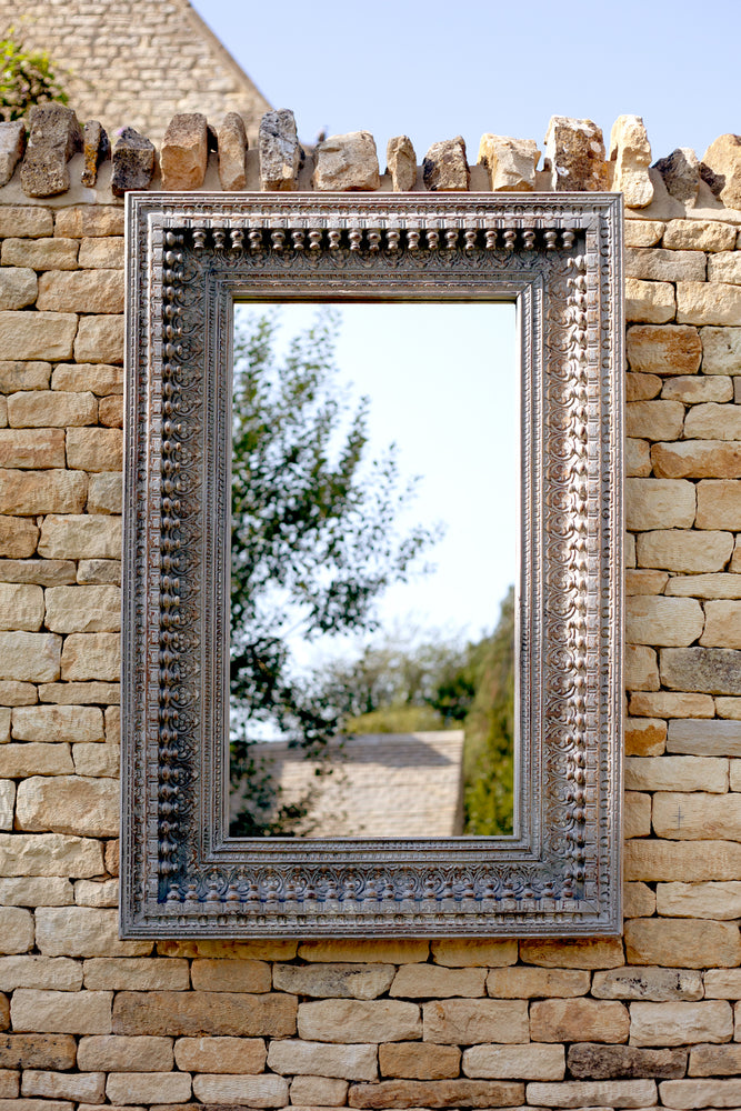 Jali Grey Rectangular Carved Mirror - 98cm x 150cm