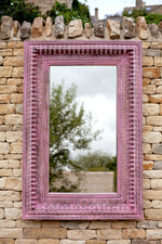 Jali Pink Rectangular Carved Mirror - 98cm x 150cm