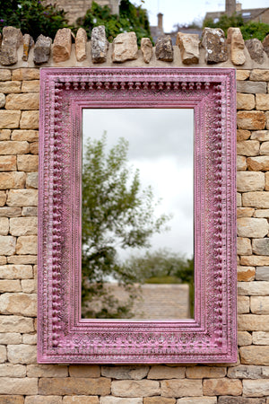 Load image into Gallery viewer, Jali Pink Rectangular Carved Mirror - 98cm x 150cm