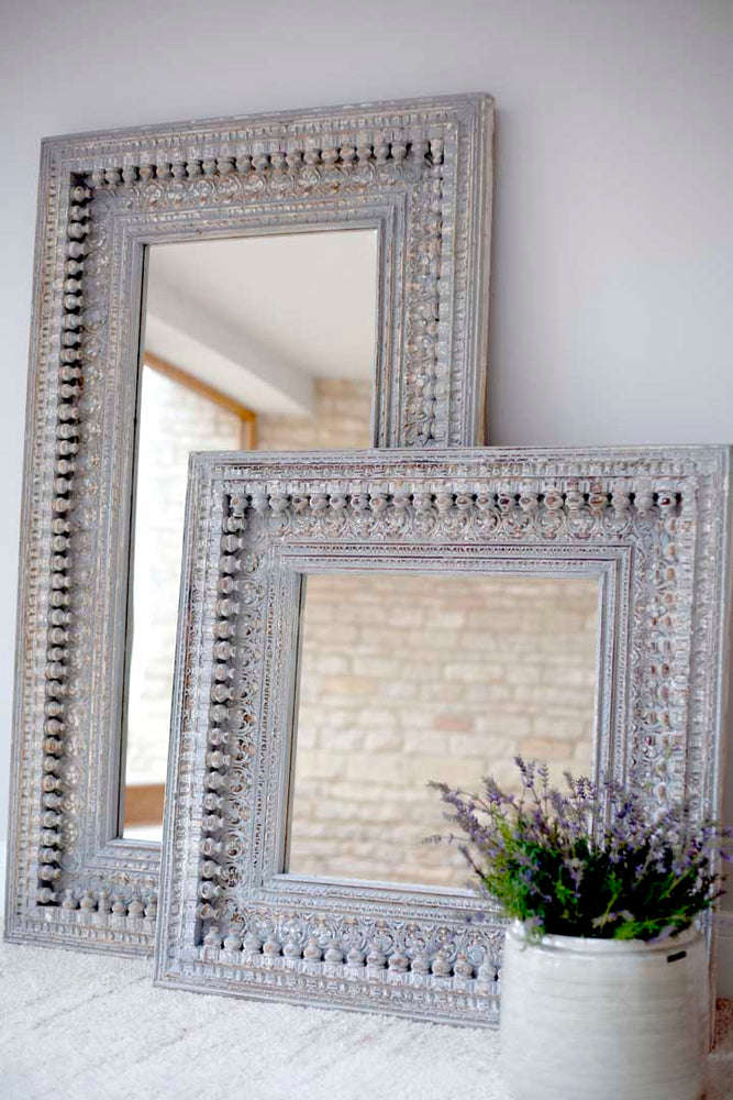 Jali Grey Rectangular Carved Mirror - 90cm x 153cm