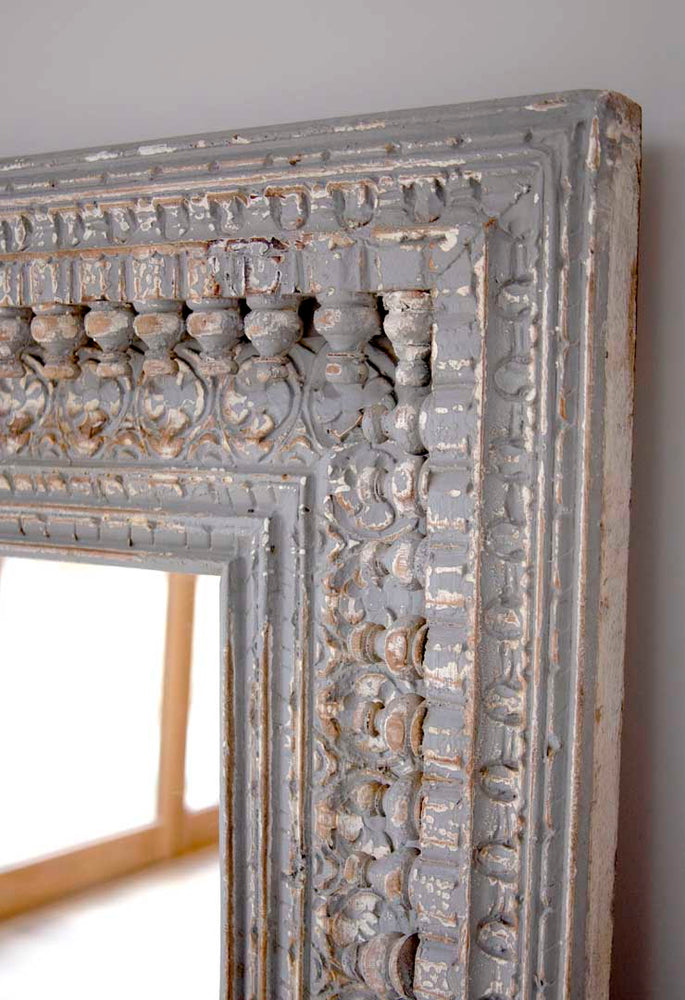 Jali Grey Square Carved Mirror - 92cm x 94cm