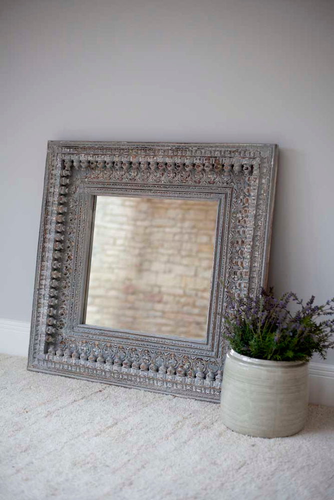 Jali Rectangular Carved Mirror - 92cm x 94cm