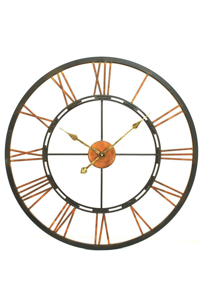 Load image into Gallery viewer, Iron and Copper Skeleton Wall Clock - Medium
