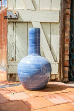 Van Thiel Blue Swirl Glaze Long Neck Vase