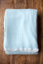 Cashmere Throw - Light Blue Zigzag