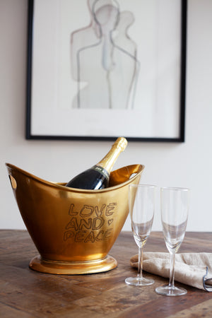 Love and Peace Champagne Bucket - Brass