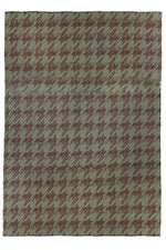 Bikaner Green and Chocolate Houndstooth Patterned Rug
