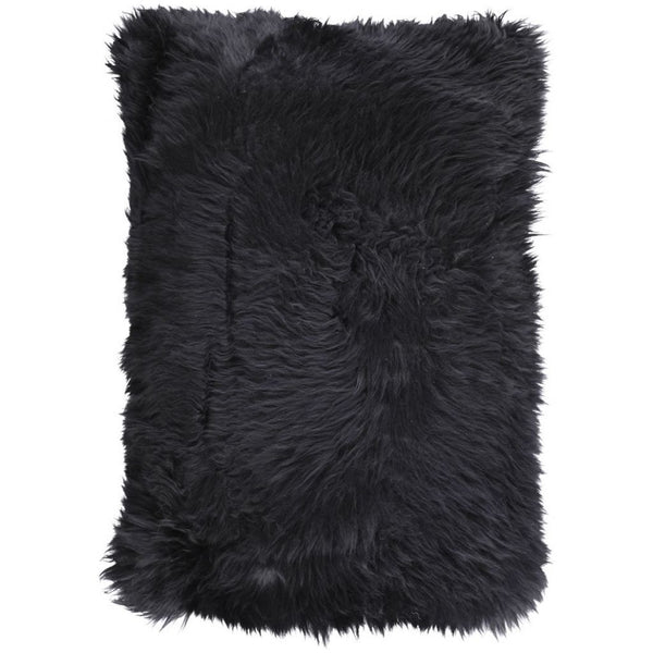 New Zealand Sheepskin Long Cushion - Black