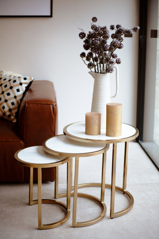 Norton Nesting Tables White/Fine Gold - Set of 3