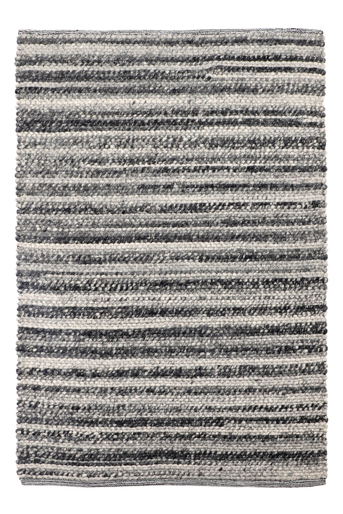 Lucy Grey Striped Wool Rug