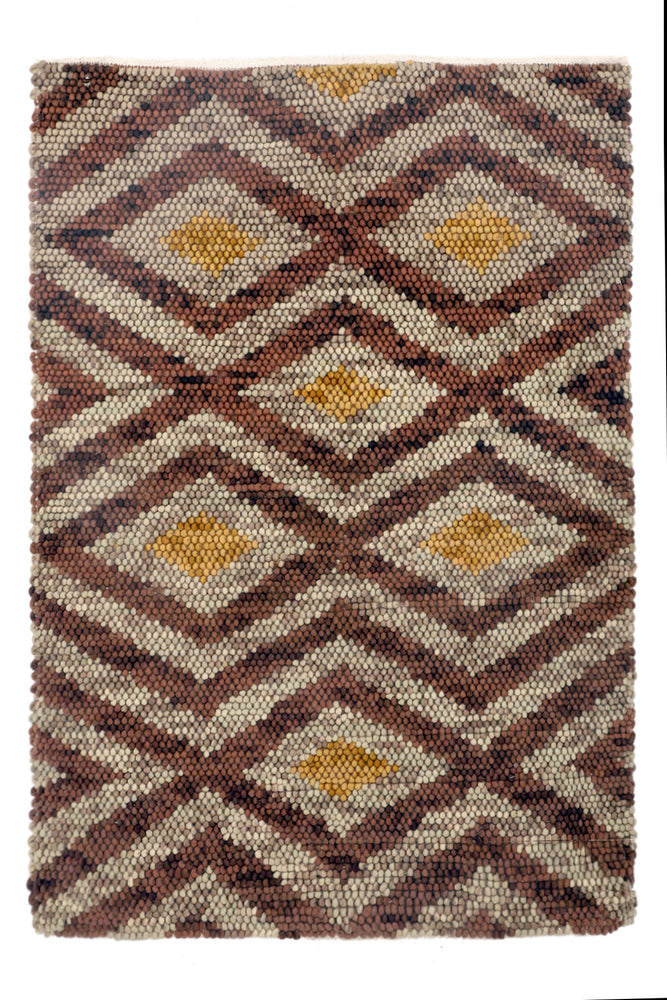 Thalia Brown & Gold Diamond Patterned Rug