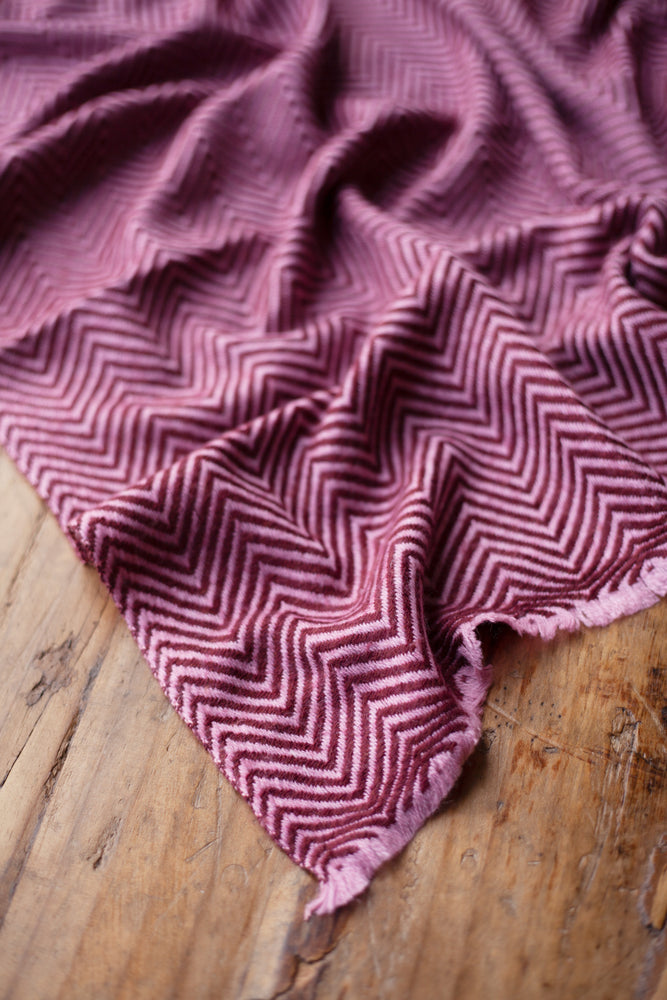 Load image into Gallery viewer, Cashmere Throw - Raspberry Chevron