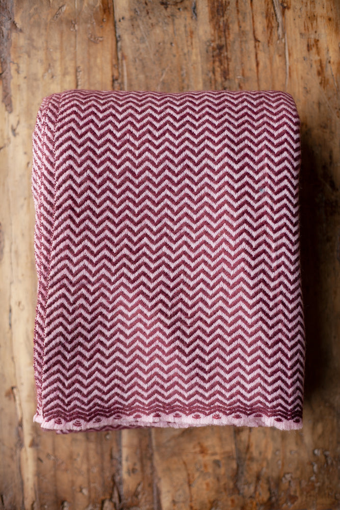 Cashmere Throw - Red Zigzag