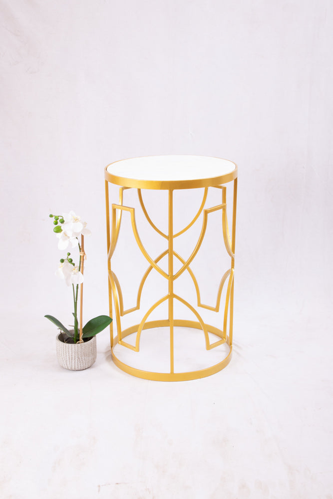 White Marble & Gold Side Table