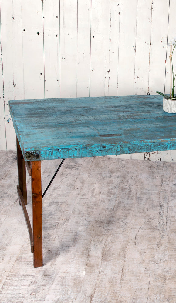 Blue Wooden Dining Table - 210cm