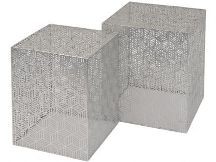 Silver Square Geo Nesting Set of 2 Side Tables