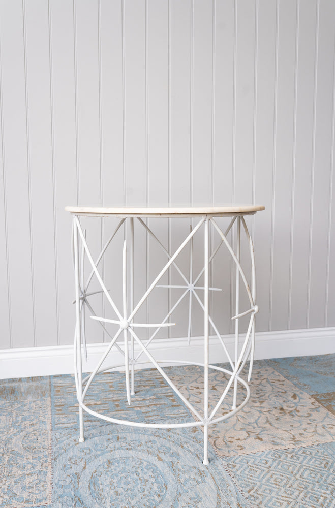 Geometric White Marble Side Table 26""