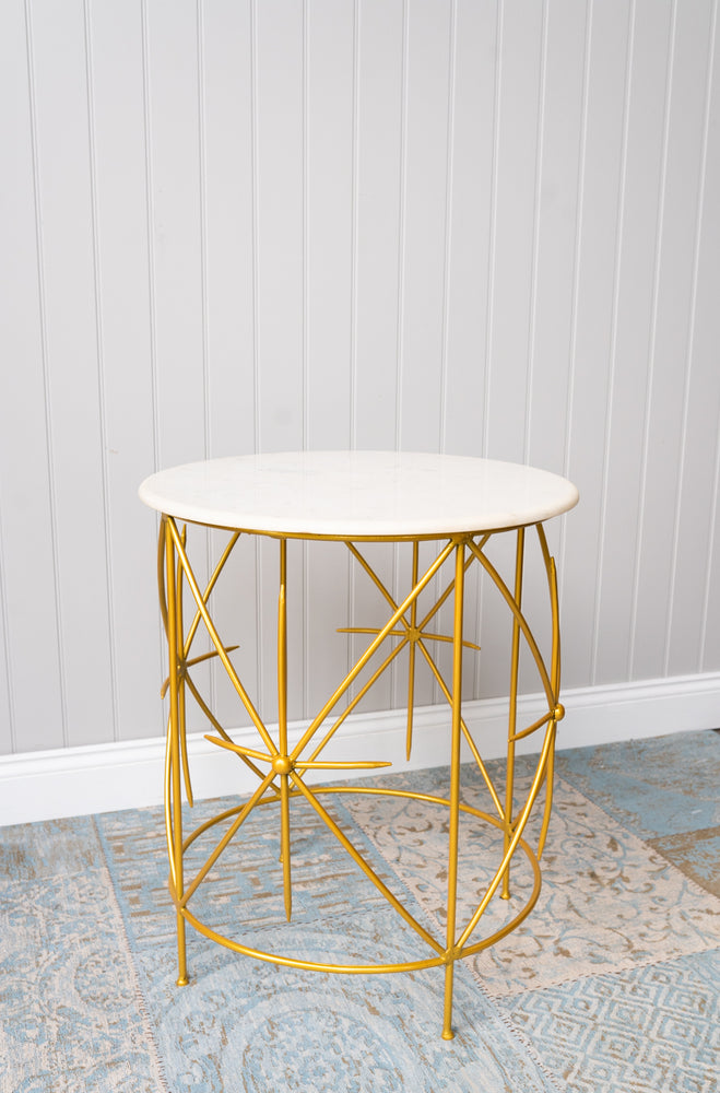 Geometric Gold Marble Side Table 26""